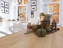 Cozinha nórdica em um apartamento rendição 3d Conceito da ação de graças Imagens de Stock