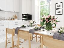 Cozinha nórdica moderna no apartamento do sótão rendição 3d Imagem de Stock