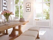 Cozinha nórdica moderna no apartamento do sótão rendição 3d Imagens de Stock Royalty Free