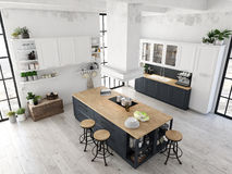 Cozinha nórdica moderna no apartamento do sótão rendição 3d Imagens de Stock