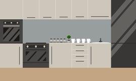 Cozinha no estilo escandinavo Vetor Projeto liso ilustração royalty free