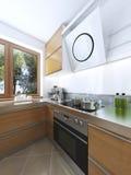 Cozinha pequena ao estilo do minimalismo 3d rendem Fotos de Stock Royalty Free
