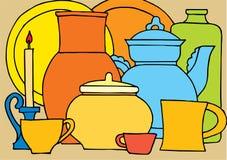 Cozinha-pratos Fotos de Stock
