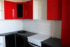 Cozinha preta e vermelha Fotografia de Stock