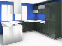 Cozinha preta moderna ilustração do vetor