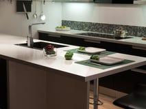Cozinha preto e branco do projeto na moda moderno do estilo Imagem de Stock