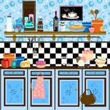 Cozinha retro do estilo de país Fotos de Stock Royalty Free