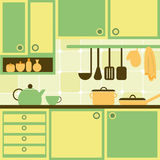 Cozinha verde e amarela Imagens de Stock
