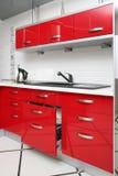 Cozinha vermelha Fotografia de Stock Royalty Free