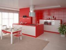 Cozinha vermelha Ilustração Royalty Free