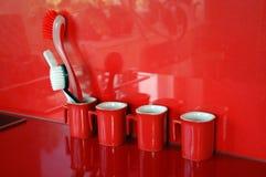 Cozinha vermelha moderna Foto de Stock Royalty Free