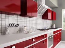 Cozinha vermelha moderna 3d interior Foto de Stock Royalty Free