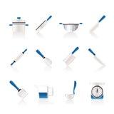 Cozinhando ícones do equipamento e das ferramentas Imagens de Stock