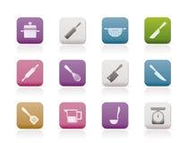 Cozinhando ícones do equipamento e das ferramentas Fotografia de Stock Royalty Free