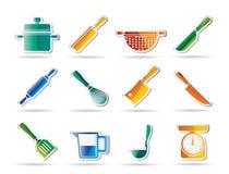 Cozinhando ícones do equipamento e das ferramentas Foto de Stock