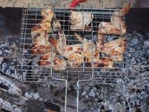 Cozinhando as asas de galinha na grade sobre os carvões imagem de stock