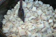 Cozinhando a banha da gordura da carne de porco Fotos de Stock Royalty Free