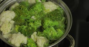 Cozinhando brócolis e a couve-flor coloridos na bandeja com água a ferver vídeos de arquivo