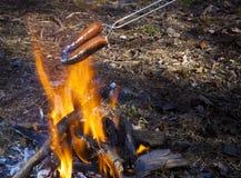 Cozinhando cachorros quentes sobre a fogueira Fotografia de Stock
