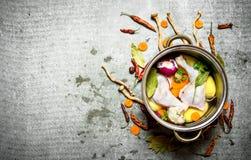 Cozinhando a canja de galinha com vegetais em um grande potenciômetro Foto de Stock