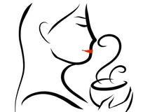 Cozinhando a x?cara de caf? ou o ch? quente ilustração stock