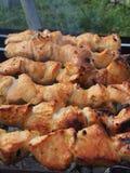 Cozinhando a carne de Turquia nos carvões Chargrill No espeto sobre imagens de stock royalty free