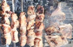 Cozinhando a carne nos carvões imagens de stock