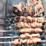 Cozinhando a carne nos carvões imagem de stock