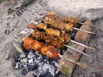 Cozinhando a carne nos carvões Fotografia de Stock