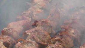 Cozinhando a carne nos carvões vídeos de arquivo