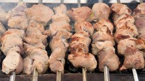 Cozinhando a carne roasted deliciosa nos carvões Fotografia de Stock Royalty Free