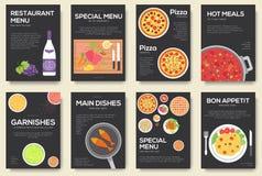 Cozinhando cartões ajustados com fundo do vetor do menu Cozinhando o projeto da bandeira do menu Imagens de Stock Royalty Free