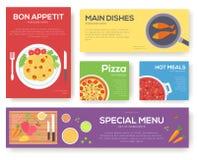 Cozinhando cartões ajustados com fundo do vetor do menu Cozinhando o projeto da bandeira do menu Imagem de Stock Royalty Free