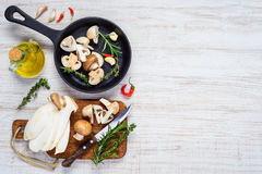 Cozinhando cogumelos frescos no espaço da cópia fotos de stock