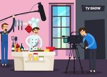 Cozinhando a composição ortogonal do programa televisivo ilustração royalty free