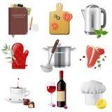 Cozinhando ícones Fotos de Stock Royalty Free