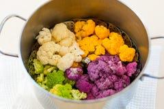 Cozinhando a couve-flor no potenciômetro Foto de Stock Royalty Free