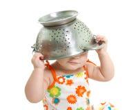 Cozinhando a criança sobre o branco Imagens de Stock Royalty Free