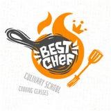 Cozinhando a escola, classes culinárias, estúdio, logotipo, utensílios, avental, forquilha, faca, cozinheiro chefe mestre ilustração royalty free