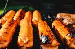 Cozinhando hotdogs e Hamburger em uma grade fotografia de stock royalty free