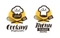 Cozinhando, logotipo da culinária Etiqueta para o menu do restaurante ou do café Ilustração do vetor Fotografia de Stock Royalty Free