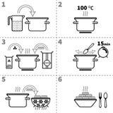 Cozinhando a massa Receita passo a passo infographic ilustração do vetor