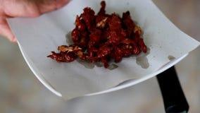 Cozinhando o alimento, carne fritada das corrediças com pimenta do alho dentro video estoque