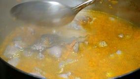 Cozinhando o alimento caseiro A goulash ou a sopa grossa de miúdos de ave da galinha com cenouras fervem em uma caçarola video estoque