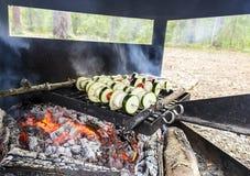 Cozinhando o alimento do vegetariano na floresta selvagem Fotografia de Stock