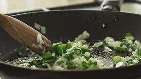 Cozinhando o alimento na bandeja no fogão vídeos de arquivo