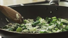 Cozinhando o alimento na bandeja no fogão video estoque