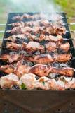 Cozinhando o assado ou o shashlik no cuspe Piquenique no fim de semana outdoor Foto de Stock