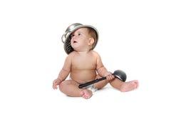 Cozinhando o bebê da criança sobre o branco Foto de Stock