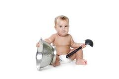 Cozinhando o bebê da criança sobre o branco Imagem de Stock